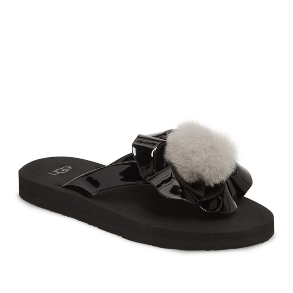 3e9055a4f88 NWT UGG® Poppy Genuine Shearling Pompom Flip Flop NWT